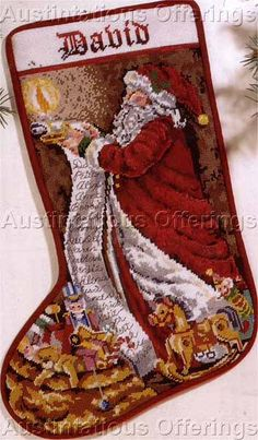 Rare Orton Wishlist Father Christmas Needlepoint  Stocking Kit