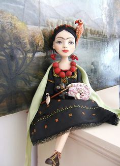 Frida Kahlo Black-Yellow Hand made Art Dolls by BarbaraCharacters