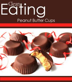 """Clean Eating Peanut Butter Cups"" sense I am IN LOVE with chocolate, this might be my best friend once I start eating clean! Healthy Desserts, Delicious Desserts, Yummy Food, Recipies Healthy, Yummy Yummy, Delish, Peanut Butter Cups, Almond Butter, Cupcakes"