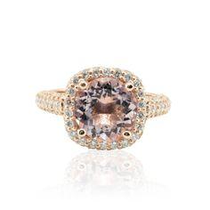 Morganite Ring with Cushion Diamond Halo and Three Sided Shank - LS4712