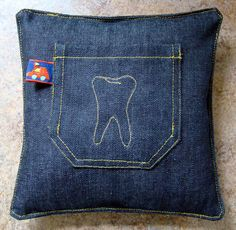4 loose teeth, best get moving on a Tooth fairy pillow, make out of a grown out pair of jeans Tooth Pillow, Tooth Fairy Pillow, Jean Crafts, Crafts To Do, Loose Tooth, Boys Life, Recycle Jeans, Old Jeans, Crafty Kids