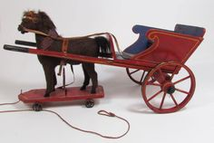 ANTIQUE 1880's GERMAN HORSE & BUGGY PULL TOY Wood Carriage Cart Germany Mohair