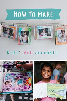 Make a simple kids art journal from recycled artwork.