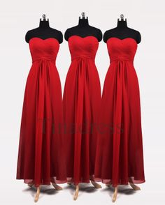 Custom Red Cheap Long Prom Dresses Bridesmaid Dresses by Tinadress, $88.00