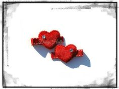 Squee! <3  $6.50 2 Red Heart girls hair clips no slip hair clip by DaisyHollow