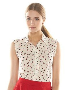 Disney's Minnie Mouse a Collection by LC Lauren Conrad Print Crinkled Blouse- Women's