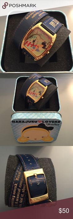 RARE Harajuku Lovers double def watch #HLLA401410 Harajuku Lovers Women's double def watch #HLLA401410 with original case. No scratches on face - worn only a couple times. Excellent condition. Needs battery Harajuku Lovers Accessories Watches