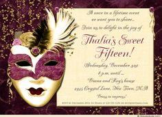 Sequin Style Masquerade Sweet 15 Invitation in Berry Purple & Golden Colors