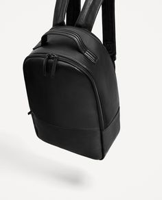 BLACK PERFORATED BACKPACK from Zara Leather Laptop Backpack, Diy Backpack, Black Leather Backpack, Travel Backpack, Fashion Backpack, Leather Bag, Cute Crossbody Bags, Sacs Design, Back Bag