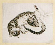 Fujita Tsuguharu (Leonard Foujita) A Lying cat