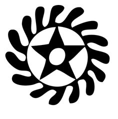 """SESA WO SUBAN """"Change or transform your character"""" Symbol of life transformation. This symbol combines two separate adinkra symbols, the """"Morning Star"""", which can mean a new start for the day, placed inside of the wheel, which represents the independent movement or rotation."""