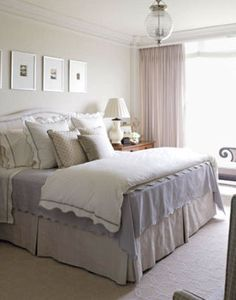 Shimmering Master Bedroom  The master bedroom is painted with Farrow & Ball's Slipper Satin.