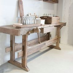 Carpenter Bench - Carpenter's have been using woodworking benches for centuries, the earliest dating back to ancient Egyptian times. This fine work bench made from reclaimed Elm will sit perfectly in your entrance or foyer when used as a console or resting place for frames and ornaments.