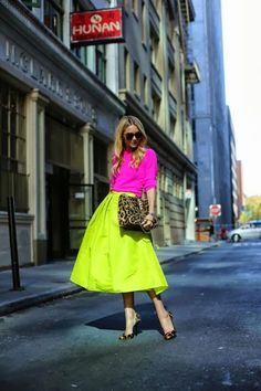 full neon midi. Love everything about this outfit, including leopard pumps.