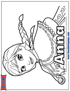 Anna Frozen Free Colouring Page