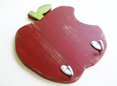 apple decorations for country kitchen | Wooden APPLE kitchen decor - red wall and key hook organizer country ...
