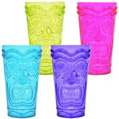 Serve up delicious tropical cocktails in these bright tiki tumblers. They add a touch of paradise to luau, beach, pool, or tropical parties, plus they're ideal for resale in gift, party, and nov