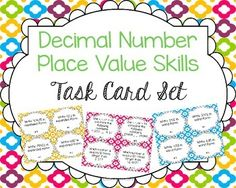 Practice decimal number place value skills with this comprehensive task card set.  Also available in a money-saving bundle!