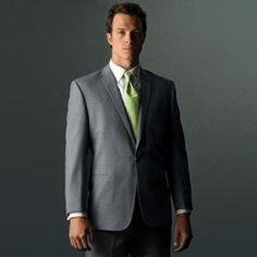 Grey Tuxedo with Green Tie.