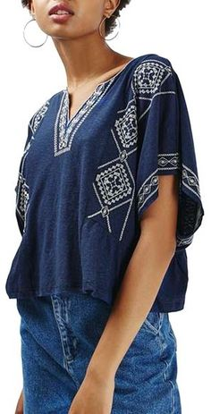 Topshop 'Kindred' Embroidered Caftan Tee