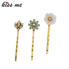 Alloy Crystal Flowers Hair Jewelry Accessories New Hot Sale Women Barrettes Hairpins 3PCS/Set