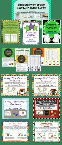 This bundle combines 13 existing life-skills products (and a bonus coin sorting file folder activity) offered at a reduced price to provide all the basics for starting using work systems for students with autism working on functional sight words, money skills, and next dollar skills.  There is at least one more product to add to the bundle and if you buy it before it is added, you will receive it for free.   This bundle is sold for $29 which is a 30% discount off buying all the items separat...