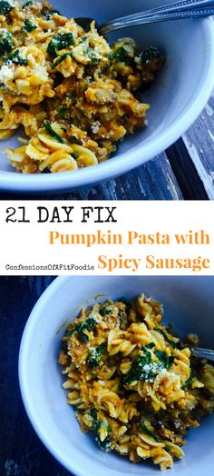 21 Day Fix Gluten Free Pumpkin Pasta with Spicy Sausage (Instant Pot Option) - Confessions of a Fit Foodie Clean Dinner Recipes, Clean Dinners, Clean Eating Recipes, Lunch Recipes, Pasta Recipes, Beef Recipes, Pumpkin Dinner Recipes, Fall Recipes, Recipies