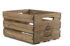 GPO Cassa Wooden LP Album Storage Box - Vintage Fruit Apple Wood Crate Style