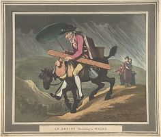 An Artist Travelling in Wales  Henri Merke  (Swiss, Niederweningen, canton Zürich ca. 1760–after 1820)  Artist: After Thomas Rowlandson (British, London 1757–1827 London) Publisher: Published by Rudolph Ackermann (London) Date: February 10, 1799 Medium: Etching and aquatint with hand coloring Dimensions: sheet: 13 3/16 x 15 1/2 in. (33.5 x 39.4 cm) Classification: Prints Credit Line: The Elisha Whittelsey Collection, The Elisha Whittelsey Fund, 1959 Accession Number: 59.533.654