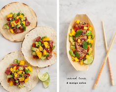 Seared tuna with mango sesame salsa / loveandlemons.com - I need to get myself to like avocados more!