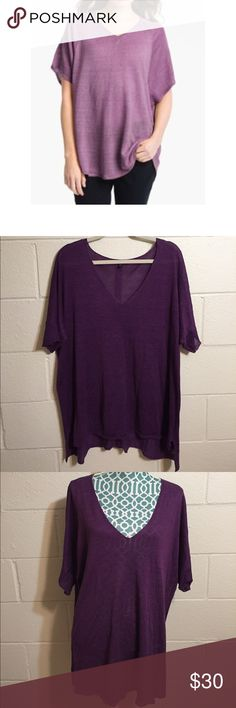 "EILEEN FISHER Linen Silk Tunic African violet color. V neck . Short sleeves. Front length 30"",back 32"". (Model may not be exact) EUC Eileen Fisher Tops Tunics"