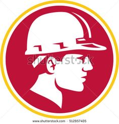 Illustration of a builder construction worker head wearing hard hat viewed from the side set inside circle on isolated background done in retro style. #constructionworker #retro #illustration