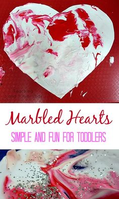 This 2 ingredient valentine art activity is perfect for toddlers because it's simple and involves the hands! Teaching 2 and 3 Year Olds Toddler Valentine Crafts, Valentine Theme, Valentines Day Activities, Valentine Day Crafts, February Toddler Crafts, Valentines Breakfast, Valentine Hearts, Kids Valentines, Daycare Crafts