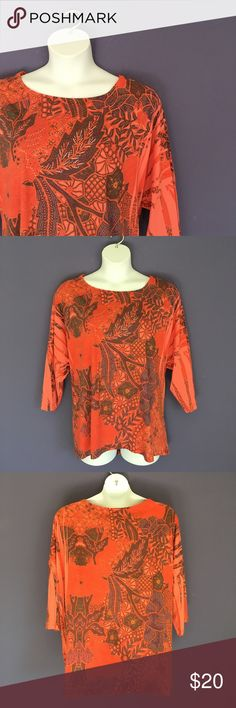 "Westbound Woman Orange Print Top This top is great for fall.  Pair with brown or black pants.  Measurements (Flat):  Length - 26""/Bust - 29""/Waist - 26"" Westbound Woman Tops"