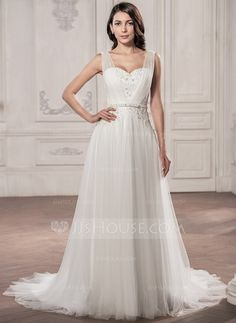 A-Line/Princess V-neck Court Train Tulle Wedding Dress With Ruffle Beading Appliques Lace Sequins Bow(s) (002058765)