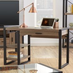 Add an industrial-inspired update to your office with the Theodulus<br/>Computer Desk. Store office accessories in the spacious drawer, and showcase accessories and décor on the open shelving.