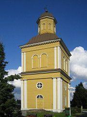 Kalajoki church belltower built 1815, builder Heikki Kuorikoski. Northern Ostrobothnia province of Finland - Pohjois-Pohjanmaa