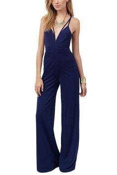 a1146e02e68 Open Back Flare Jumpsuit in Navy Strapless Romper