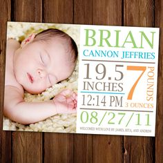 Baby Boy Birth Announcement - Jungle Gym. $15.00, via Etsy.
