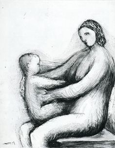 Henry Moore - Mother and Child Life Drawing, Drawing Sketches, Art Drawings, Sculpture Projects, Sculpture Painting, Henry Moore Drawings, Henri Matisse, Art Sketchbook, Figurative Art