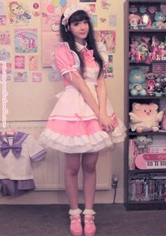 """kinatropin: """" So this is his room? A little girly isn't it? If I'm going to hypnotize him to be my sissy maid, what do you expect? Football posters and superhero bedsheets? Kawaii Fashion, Lolita Fashion, Cute Fashion, Visual Kei, Moda Lolita, Harajuku, Maid Cosplay, Sissy Maid, Maid Dress"""