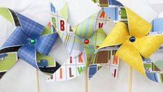 Pinwheels - Boy Themed, Transportation, Polka Dots, Plaid, Primary Colors, Toddler, Baby Shower, Cars, Alphabet, Airplanes, Yellow Blue Green Red Brown, 1st First Birthday Party Decor, Baby Shower, Center Pieces, Favors, Decorations, 2 3 4