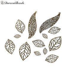 DoreenBeads Iron Based Alloy Filigree Stamping Pendants Fixed Leaf Antique Bronze Hollow 10.4cm x2.8cm - 2.4cm x1.3cm, 50 PCs #Affiliate