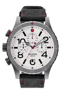 Men's Nixon 'The 48-20' Chronograph Leather Strap Watch,