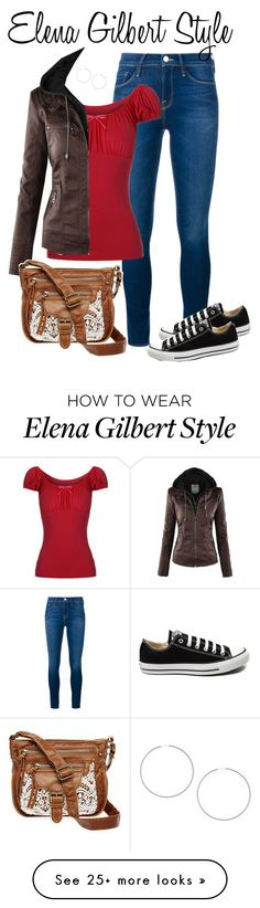 """Elena Gilbert"" by smirnova-varya on Polyvore featuring Frame Denim, Converse, T-shirt & Jeans, Topshop, women's clothing, women, female, woman, misses and juniors"