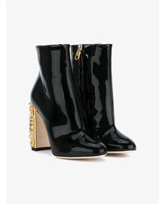 DOLCE & GABBANA Clock Embellished Patent Leather Ankle Boots