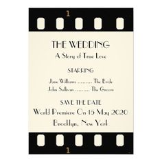 Save The Date Wedding With A Movie Film Theme Personalized Invite