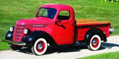 I intend to give to my wife as a gift one of these 1947 International Harvester trucks with the wood rails. She loves red and wanted one for a long time.
