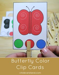 Butterfly color clip cards for color recognition and fine motor development. Creative Activities For Kids, Autism Activities, Montessori Activities, Spring Activities, Color Activities, Kindergarten Activities, Preschool Activities, Preschool Colors, Preschool Crafts