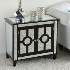 Black Mirrored Cabinet Is The Perfect Side Table For Your Glamorous Living Room Kirklands